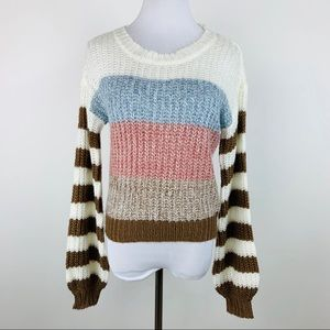 Almost Famous Striped Balloon Sleeve Sweater sz S